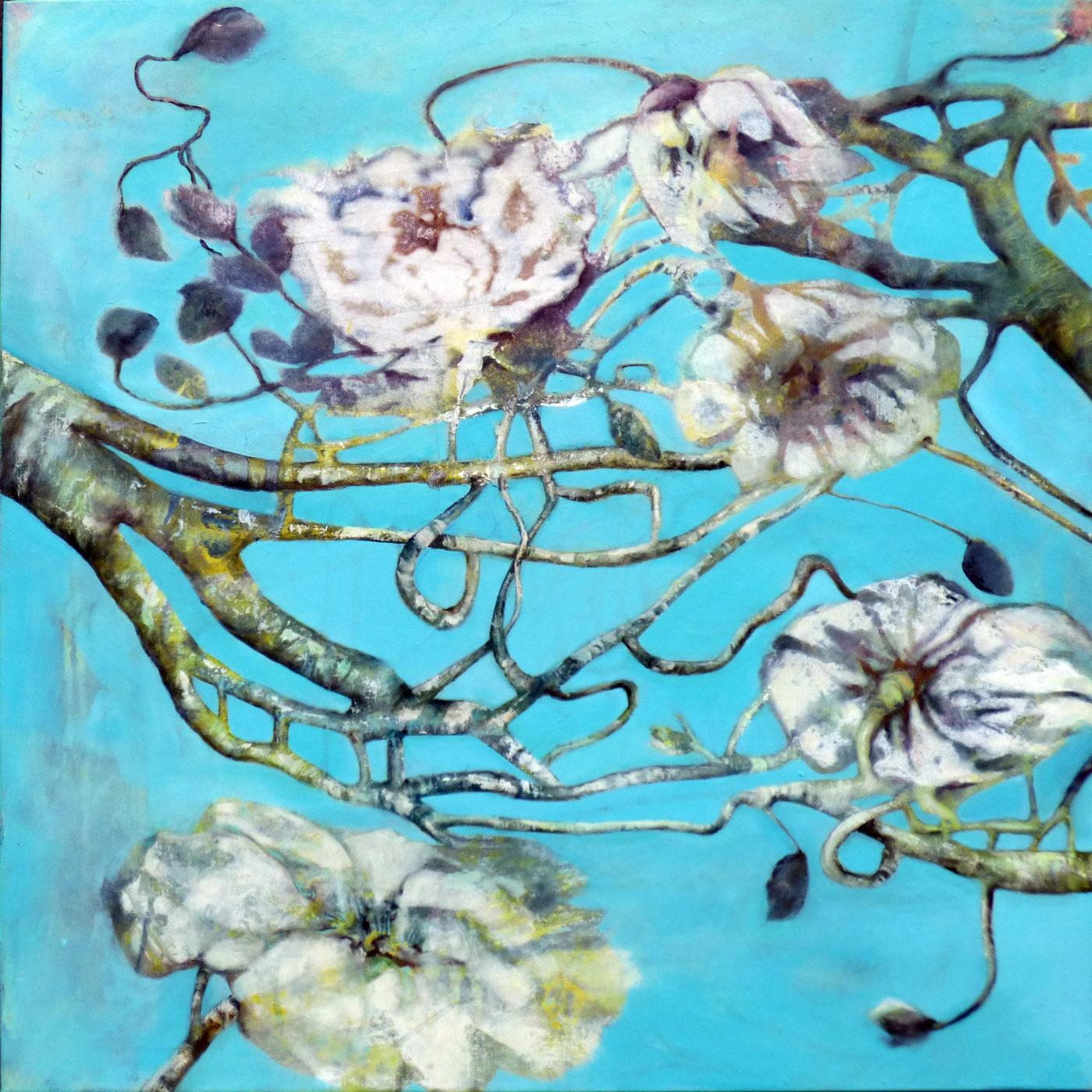 Blüten auf Hellblau von Sylvia Heuser