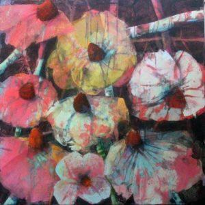 Blüten auf schwarz VIII 1000x1000 Acryl 2018 Web